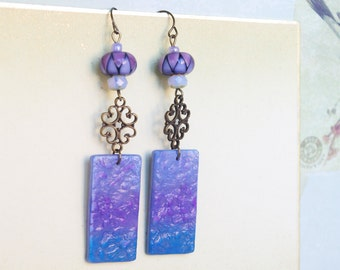 lampwork blue purple earrings harlequin filigree ombre dangle clay charm woman jewelry made in france paris gift