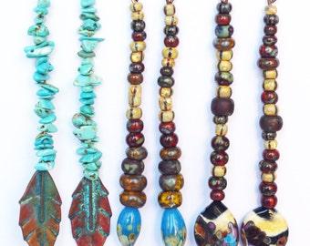 Ethnic Raw Dagger Spike earrings Rustic jewelry - turquoise chips stone beads - lampwork beads - tribal boho jewellery