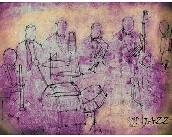 OLD JAZZ Poster, Original Handmade drawing Art Print, Old Jazz band, Large wall art print for office decor or bars