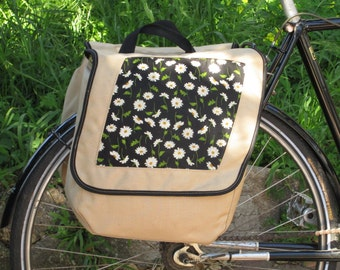 Set of two large bicycle pannier/bike bags with decorative fabric (daisies)