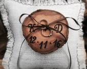 Wooden Ring Bearer - Personalized Ring Bearer - Wedding Ring Bearer Pillow - Initals Ring Bearer - Burlap Ring Bearer Pillow