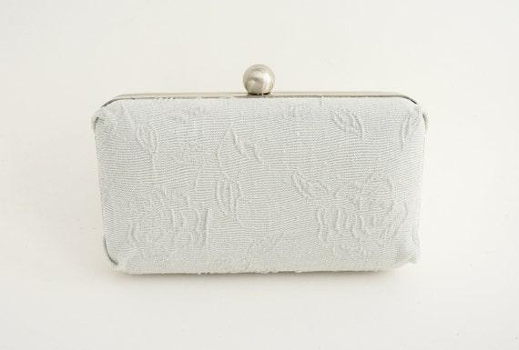 Elegant Silver Rose Minaudière Box Clutch - Bridal/Evening/Bridesmaid/Prom/Wedding Purse - Includes Crossbody Chain - Ready to Ship