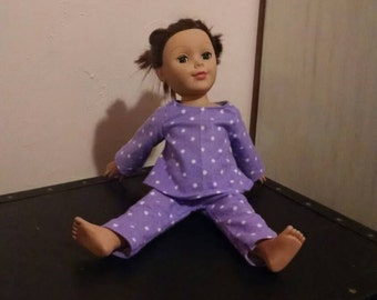 Purple polka dotted flannel pajamas for 18 inch doll