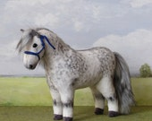 Plush model horse OOAK dapple grey with rope halter. For children or collectors.