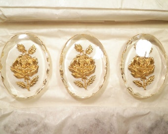 3 Vintage Lucite 40x30mm Cameos with Rose