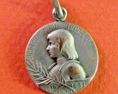 Joan of Arc  Antique Catholic  Religious French Medal  /  Basilica Domremy  Signed  A. Lavrillier Old Pendant Charm Vintage Jewelry MS2