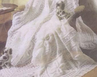 "UK/EU SELLER Stunning Heirloom Shawl/Blanket pdf knitting pattern in lacy raised motif design. Measures Shawl app.49.5""sq.exc.edging."