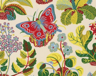 SCHUMACHER WILD BUTTERFLY Floral Insect Linen Toile Fabric 10 Yards Multi