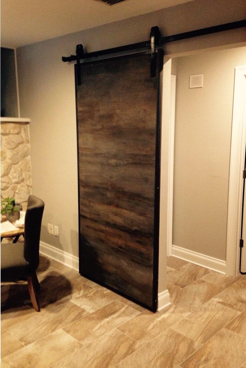 Horizontal Custom Sliding Barn Door With Metal Trim