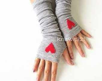 Hearts Grey Arm Warmers- Fingerless Knit Gloves-Grey Gloves -Valentine Gloves