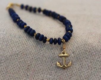 Marina Bracelet - lapis and gold filled beads with 14kt gold filled anchor