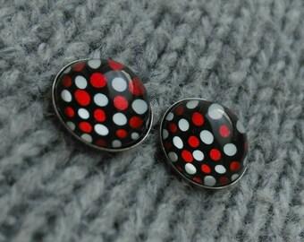 Surgical steel studs - Polka dot stud earrings - Black red white dot stud earrings - Small red black earrings - Stainless steel stud earring
