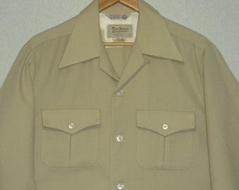 1940s Shirt / M - ML / Marlboro / Top Stitch / Gabardine / Western Shirt / Vintage 1940s Mens Shirt / 1950s Shirt / Work Shirt / Flannel