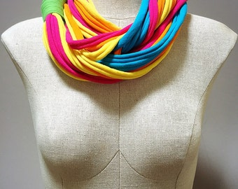 Bright multi-colored jersey infinity scarf - Repurposed