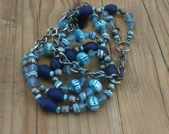 Glass Bead Double Strand Necklace Bohemian Boho Hippie Ethnic