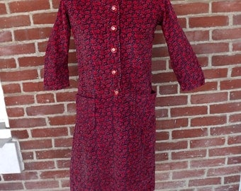 cute circa 1960 cotton corduroy floral print dress sz M