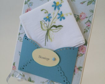 Beautiful Vintage Embroidered Handkerchief Blue Violets Birthday Card Friend Mother Sister Aunt Keepsake Gift Hanky Greeting Card