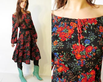 Vintage Black Floral Boho Gypsy Hippie Dress
