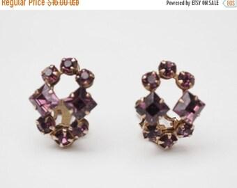 Purple Rhinestone clip on earrings gold tone mid century