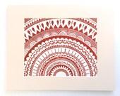 linocut - SUN, brick red - 11x14 / printmaking / block print / geometric art / mandala / sun, star print