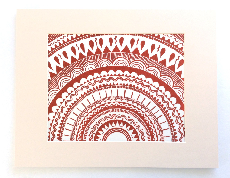 Linocut Sun Brick Red 11x14 Printmaking Block Print