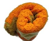 Throw Blanket for Sofa, Throw Blanket for Bed, Throw Blankets for Couch, Vintage Handmade Afghan, Knit Blanket, Crochet Blanket, Orange