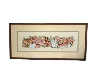 Seashells, Vintage Needlepoint, Hand Embroidery, Seashell Framed Needlework, Nautical Motif, Beach Decor, Vintage Cross Stitch, Cottage Chic