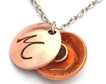 Personalized Locket Initial and Birthstone Locket Custom Penny Necklace - Choose Year Mommy Daughter Bride Bridesmaid Mother's Day Gift