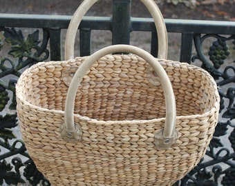 70s weaved shopping basket suede handles