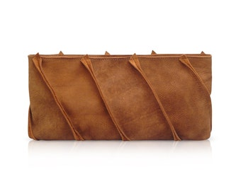little brown bag, brown leather clutch, small brown clutch, brown clutch, women's clutch wallet, small leather handbag, formal clutch