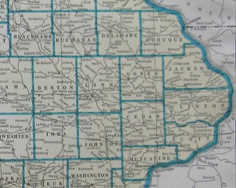 Uncommon Vintage IOWA  Map of Iowa RARE SIZE 1936 Vintage Map Gallery Wall Art Iowa State Map  6925