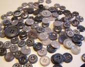 Vintage Odd Lot of 120 Gray Tone Buttons, Some Colt, Some Sets (DM)