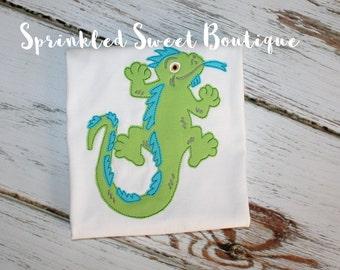 Boys Cool Dragon Lizard Applique Shirt Add Name Monogram Perfect for Summer Dragon