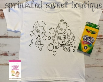 Bubbleguppies Boys Girls Custom Made Coloring Shirt Washable Reuse Perfect Birthday Child Gift Party Favor Can Add Name