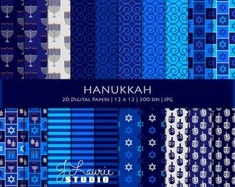 Hanukkah Digital Scrapbook Papers-Holiday Clipart-Jewish Holiday-Menorah-Dreidel-Star of David-Hanukkah Background-Instant Download Clip Art