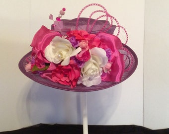 Pink and Purple Kentucky Derby Ky Derby Hat Wedding Hat Womens Hat Easter Hat
