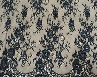 Black Lace, Chantilly Lace, Black Lace Fabric, Black Lace Fabric, (C-15)