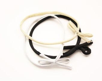 Skinny Bow Tie Headband Trio - Baby Headband - Jersey Headband - Simple Headband - Fall Accessories