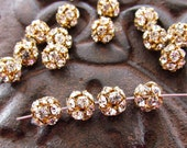 Vintage Swarovski Clear Crystal Rhinestone Ball Beads 8mm Round  in Brass Settings - 4
