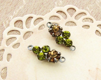 Petite Smoke Topaz & Olivine Green Swarovski Rhinestones Round Stones in Antiqued Silver 2 ring Connector Settings - 2