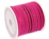Faux Suede Cord Red Violet Pink Lace Flat Faux Leather Bracelet Cording 5 meters (16 feet) 3x1.5mm