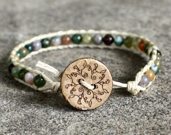 VEGAN beaded hemp wrap bracelet leather fancy jasper multi colored bracelet cruelty free guys and girls