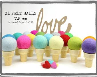 XL Felt Balls // Super Large Felt Balls // Colorful Jumbo Balls // Dryer Balls // 7.5 cm felt balls // diy pincushion