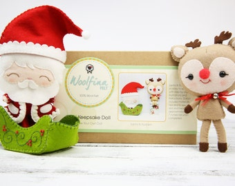 SANTA & RUDOLPH Doll Kit // Wool Felt Doll Kit // Noialand Doll Kit // diy felt doll // Christmas Dolls