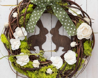 Easter wreaths for front door, spring wreath, rabbit wreath, spring door decorations, natural wreaths