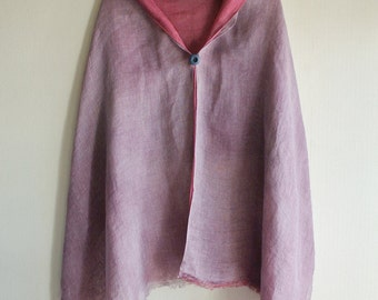 Choose Natural color, - Cochineal, Lac, Galls dyed Linen scarf