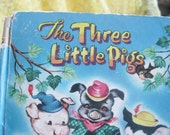 1958 Three Little Pigs First edition Tell a Tale Storybook Good to Fair condition nursery decor wall art