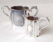 Antique Victorian sugar bowl and milk jug set, Silver plate creamer, EPNS sugar pot, Bright cut engraved, Flower pattern