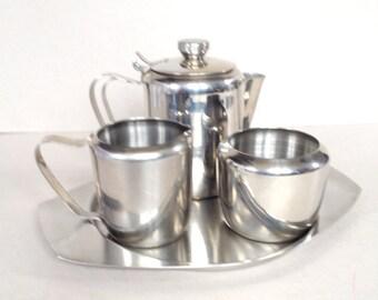 Stylish stainless steel tea set, Retro four piece tea set, Teapot, Sugar bowl, Creamer, Milk jug, Tray, Made in Korea, 18-8 grade