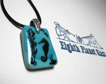 Seahorse At Play - Blue Glass Necklace Pendant - Free U.S. Shipping